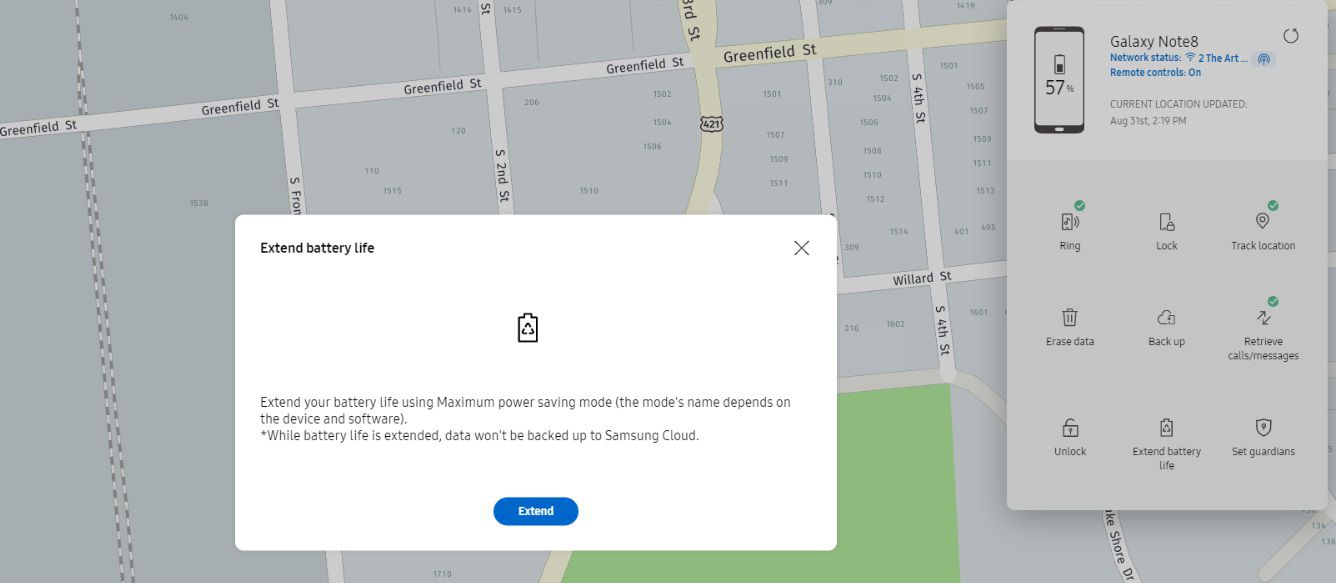 Samsung's find my mobile extend battery feature