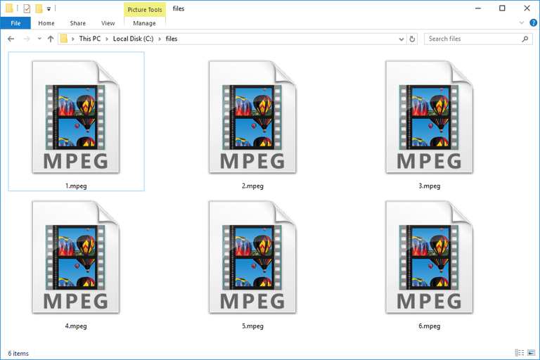 Screenshot of several MPEG files in Windows 10