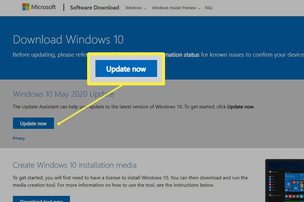 Screenshot of the Microsoft Download Windows 10 page.