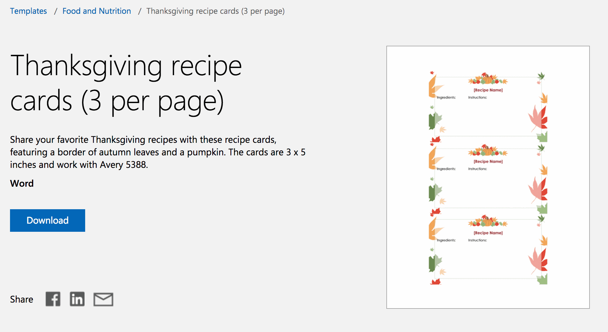Fall Recipe Cards For Microsoft Word