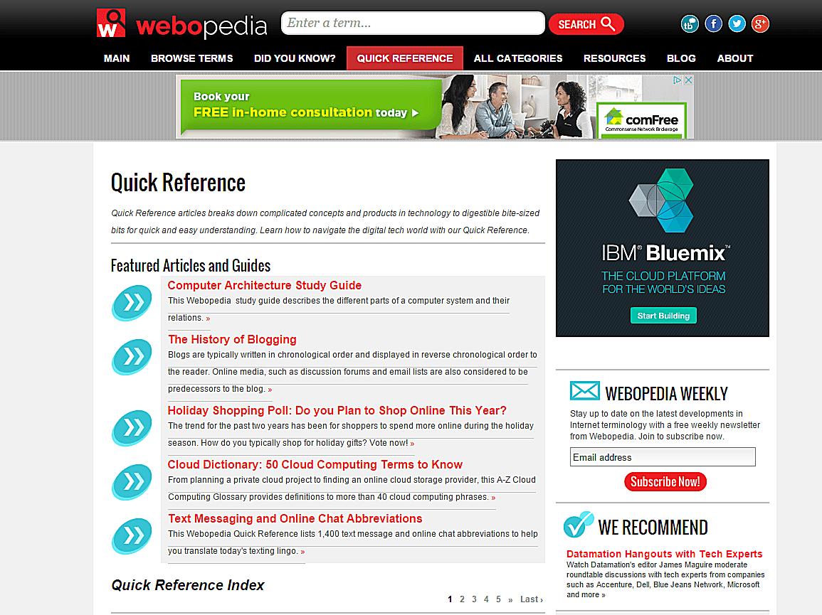 Webopedia Search screen