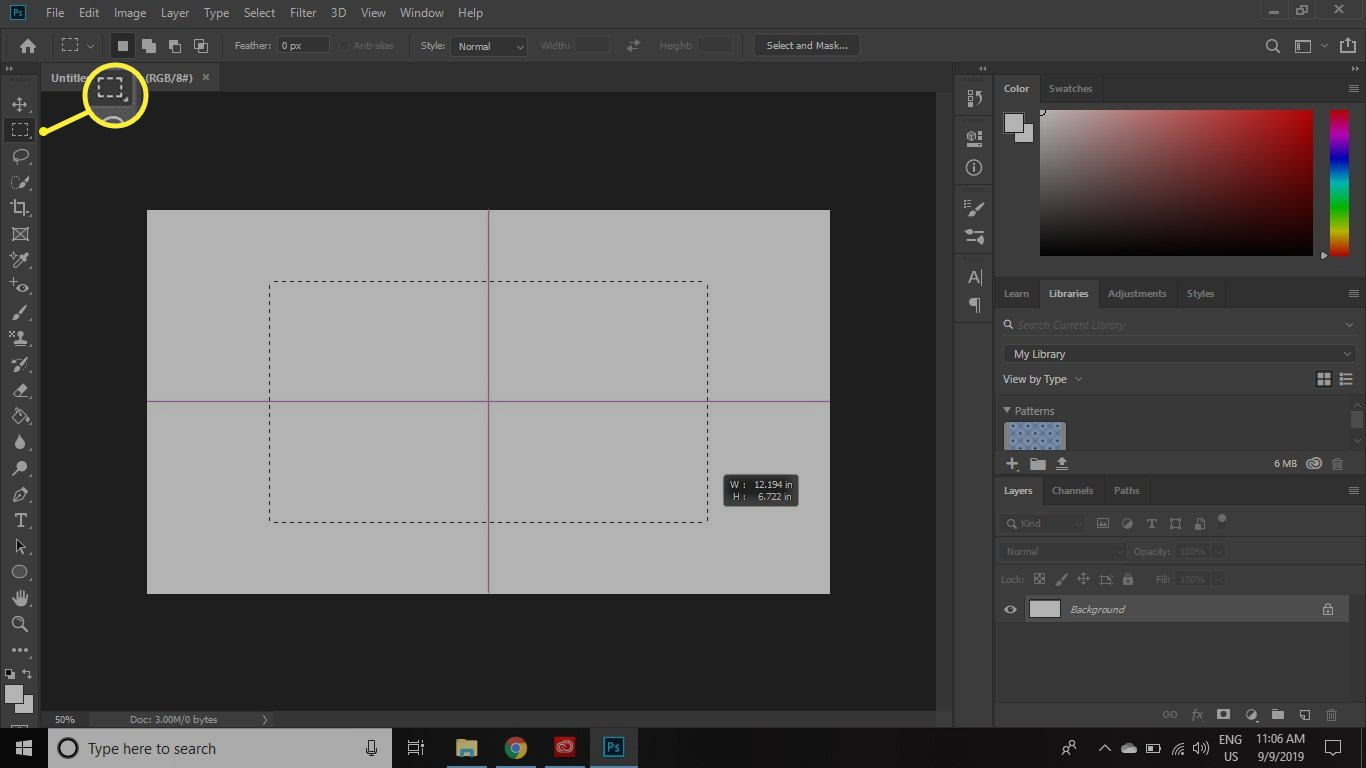 Rectangular marquee tool in Photoshop