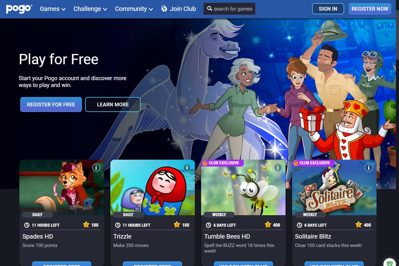Pogo free online games website