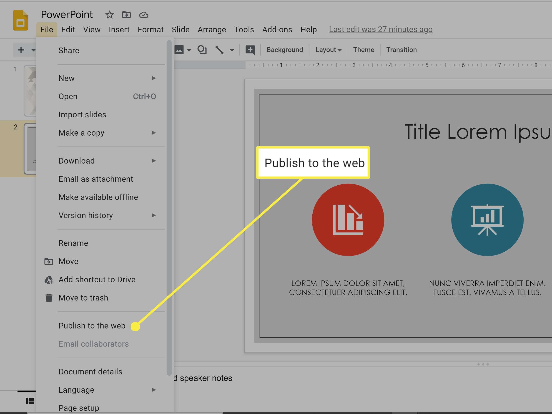 Google Slides publish to the web.