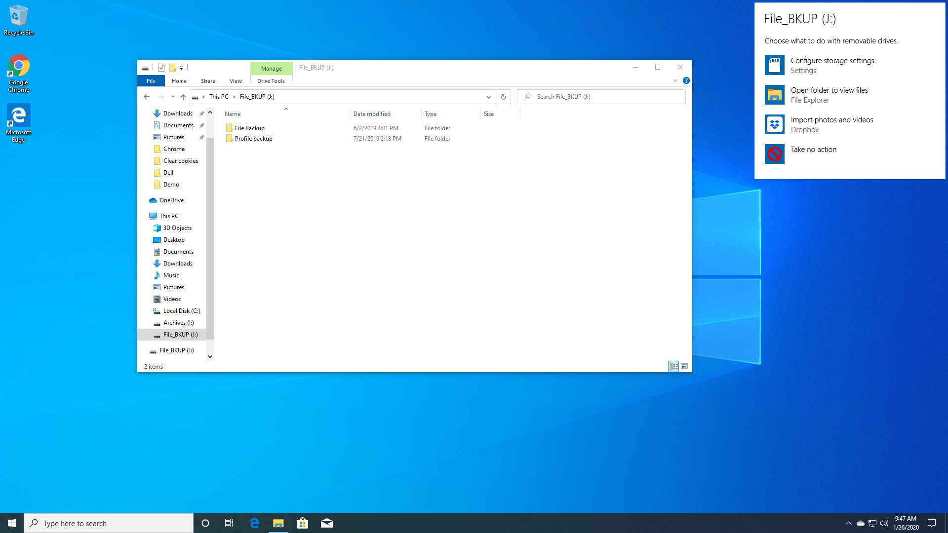 Windows 10 dialog on how to handle a new hard drive.