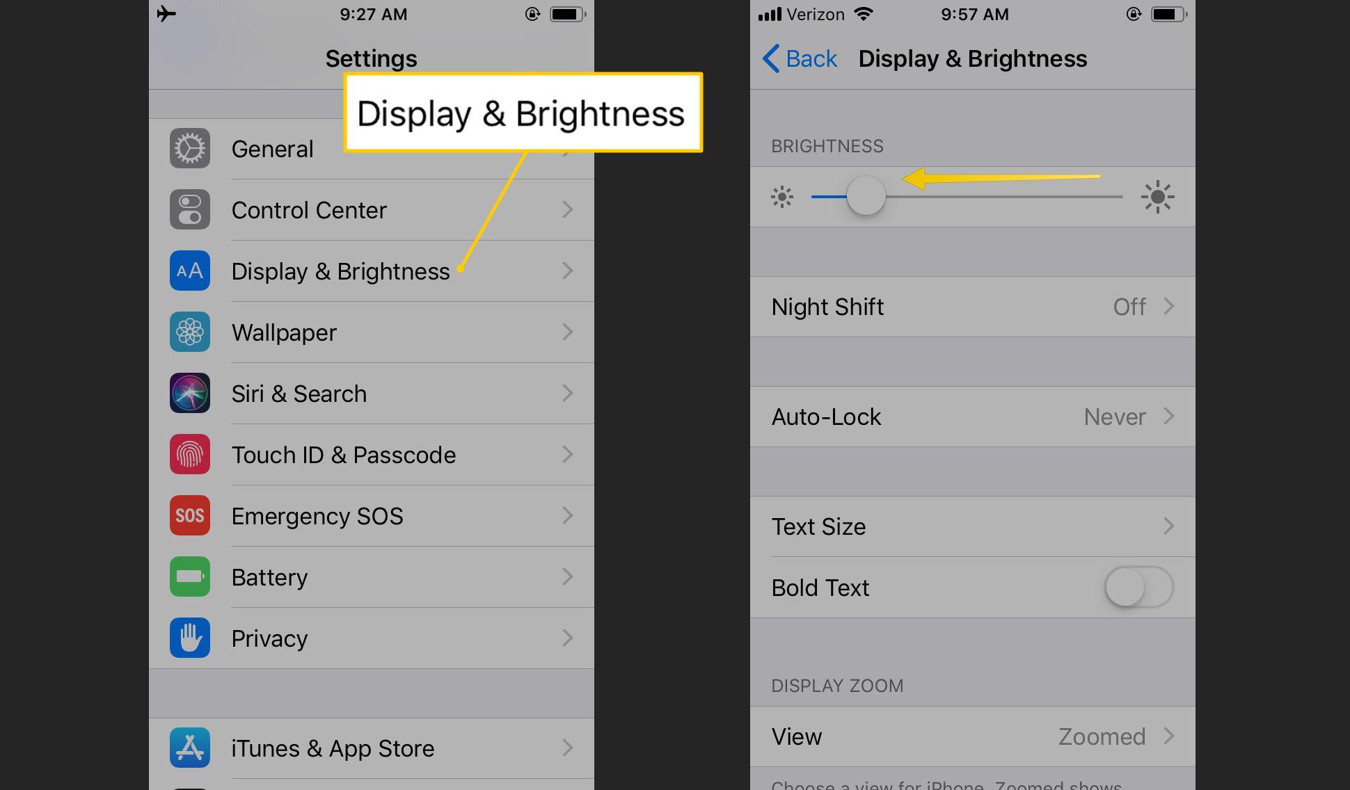 Display & Brightness, slider set low