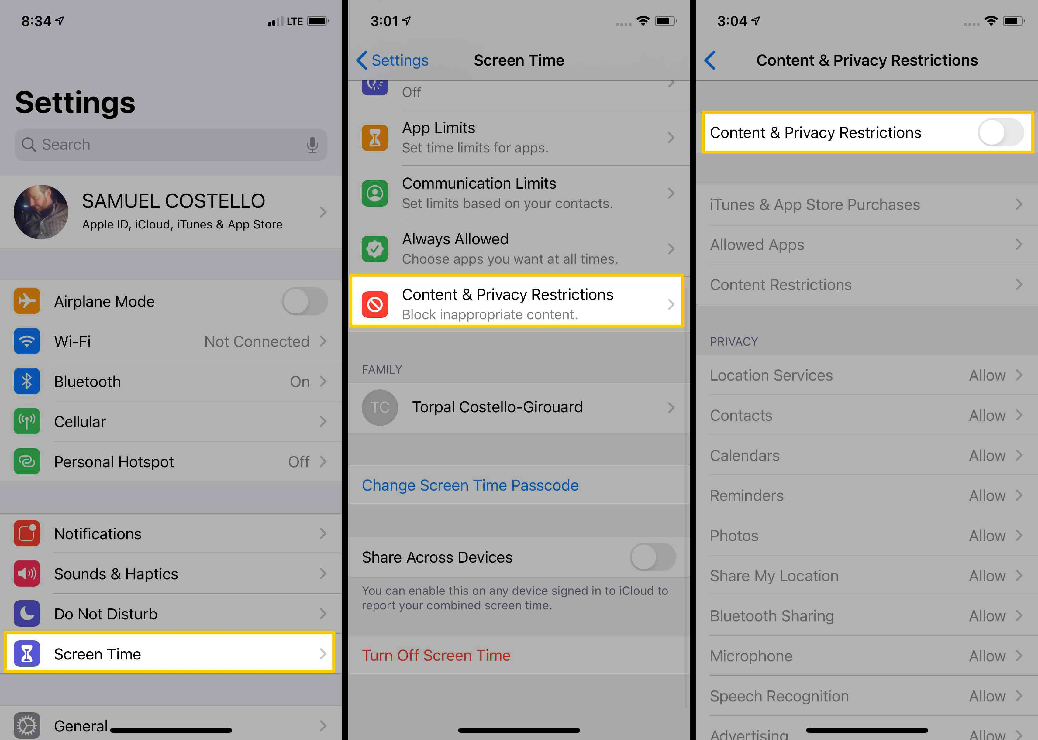 Screenshots showing how to toggle On Content & Privacy Restrictions on iOS.