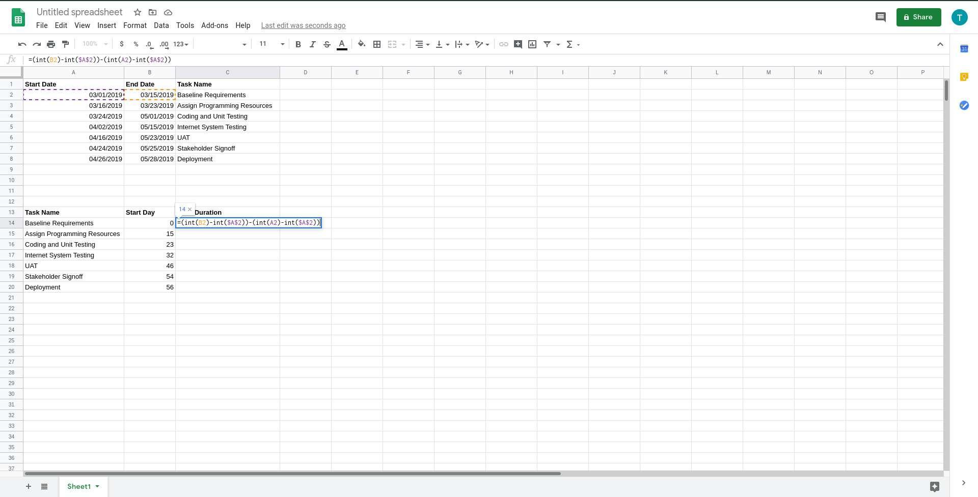 Google Sheets duration formula added