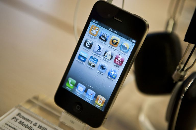 iPhone 4 on a plastic display