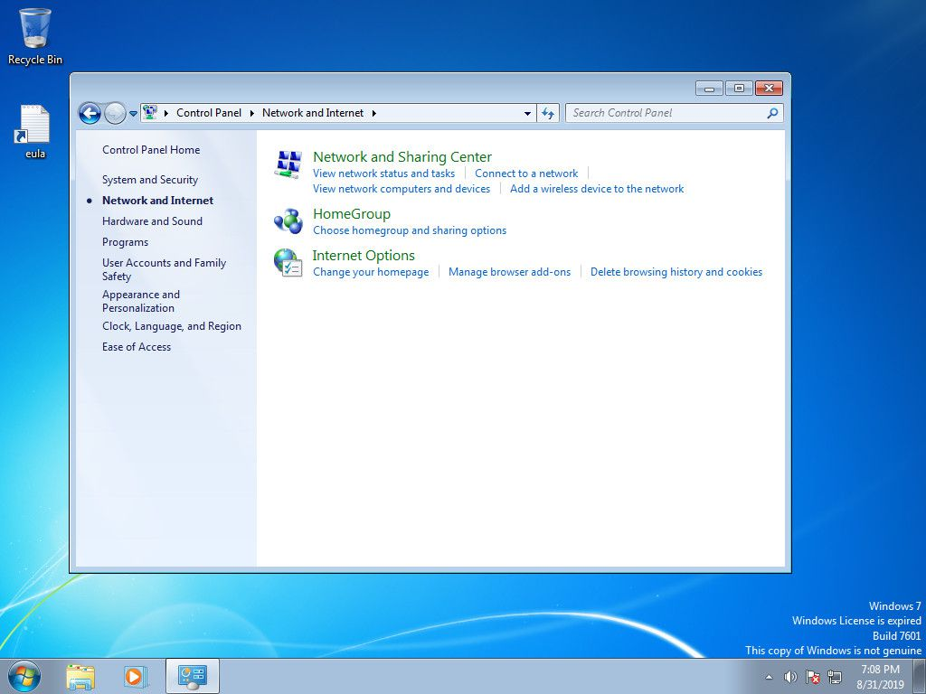 Windows 7 Network and Internet controls