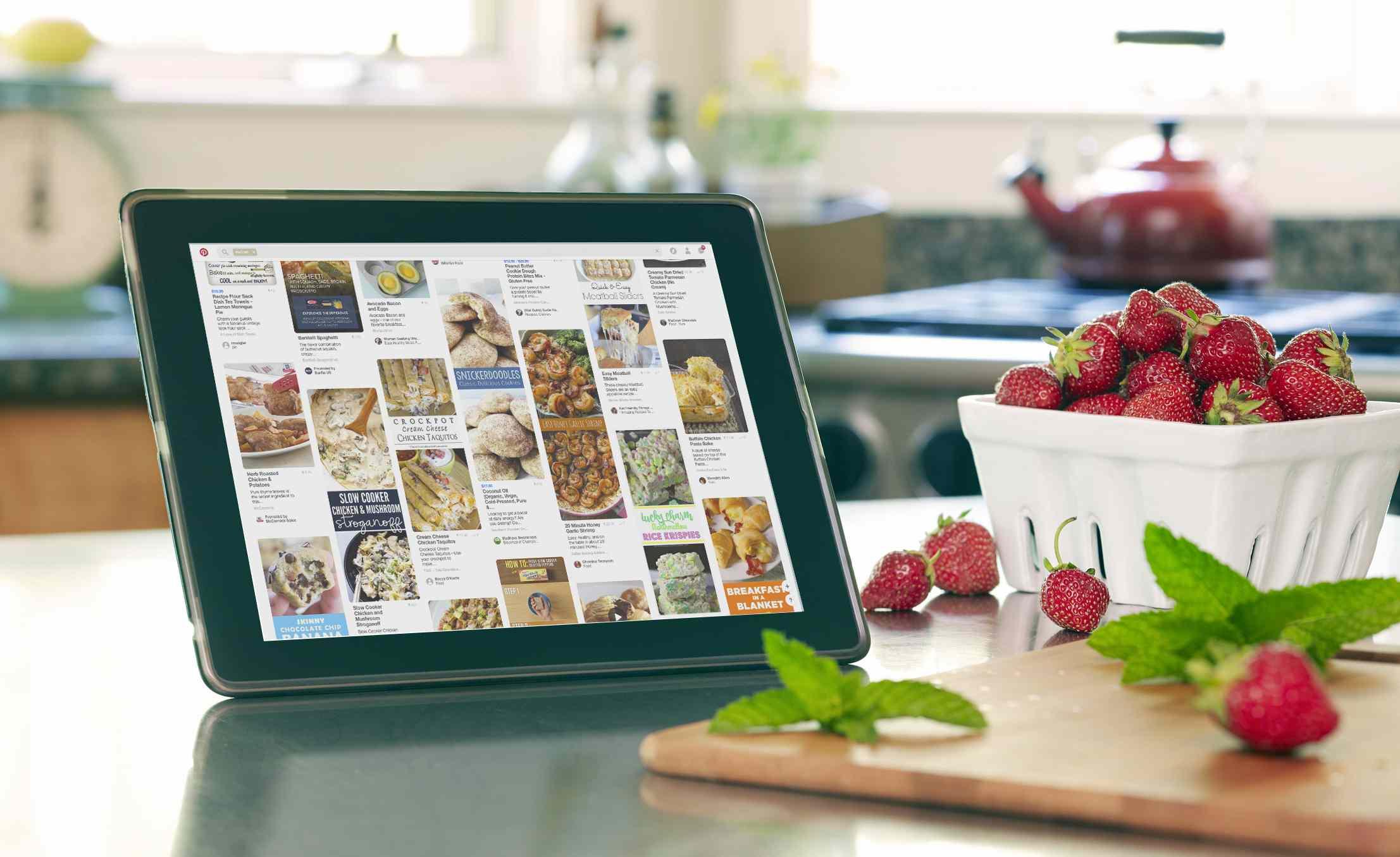 Pinterest on tablet in kitchen