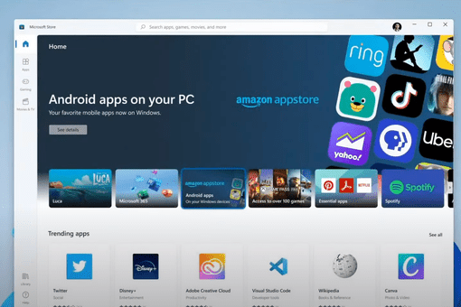 Android apps store on Windows 11