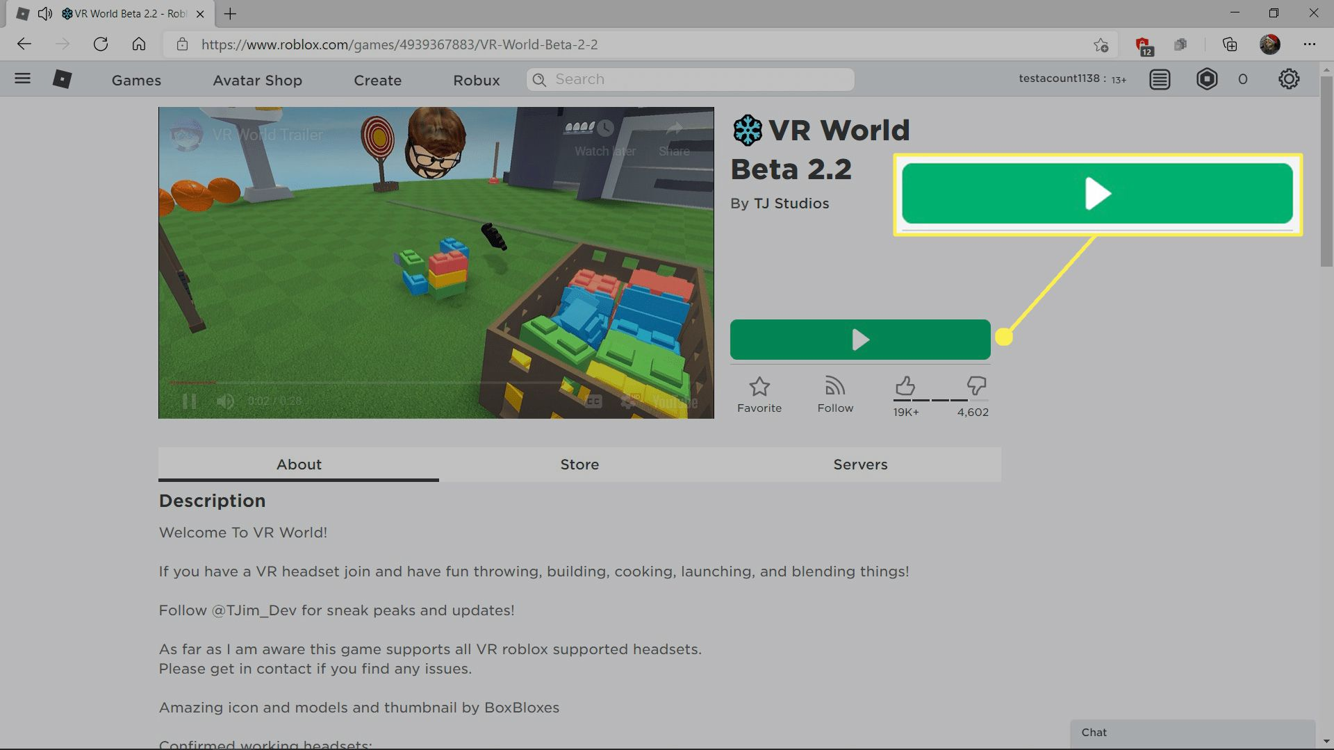 The play button highlighted on a Roblox game listing.