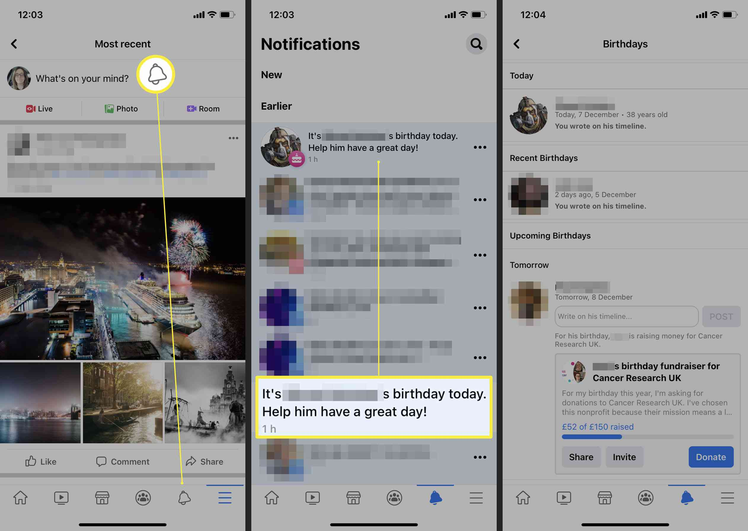 Steps required on Facebook app to find birthday notifications