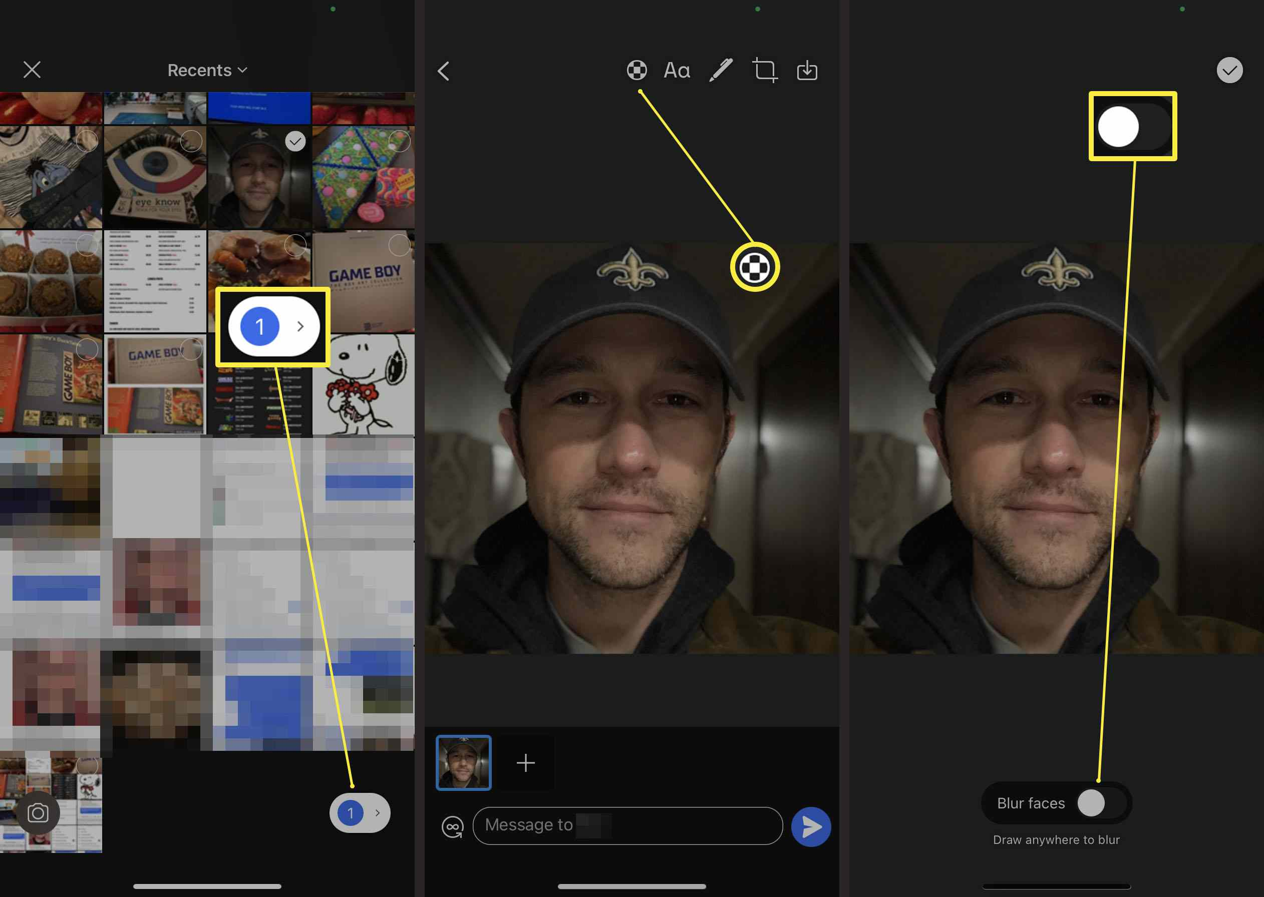 Steps required in Signal to automatically blur someone's face on a photo