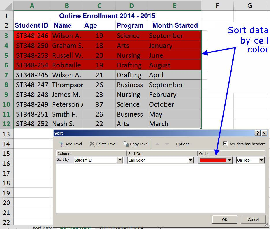 How to sort by color in excel sorting by cell background color in excel ibookread Read Online
