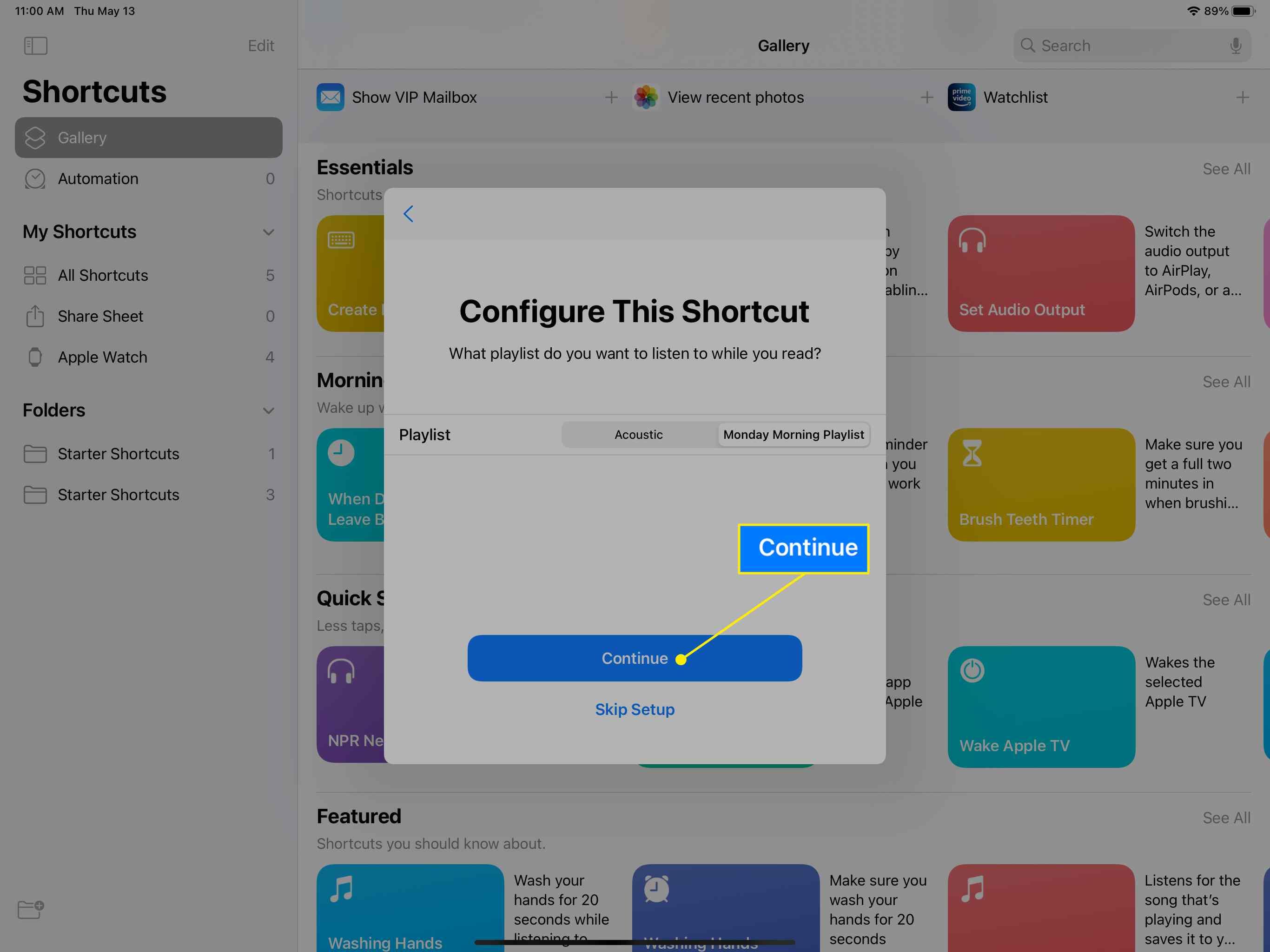 A Shortcut app configuration screen on iPad