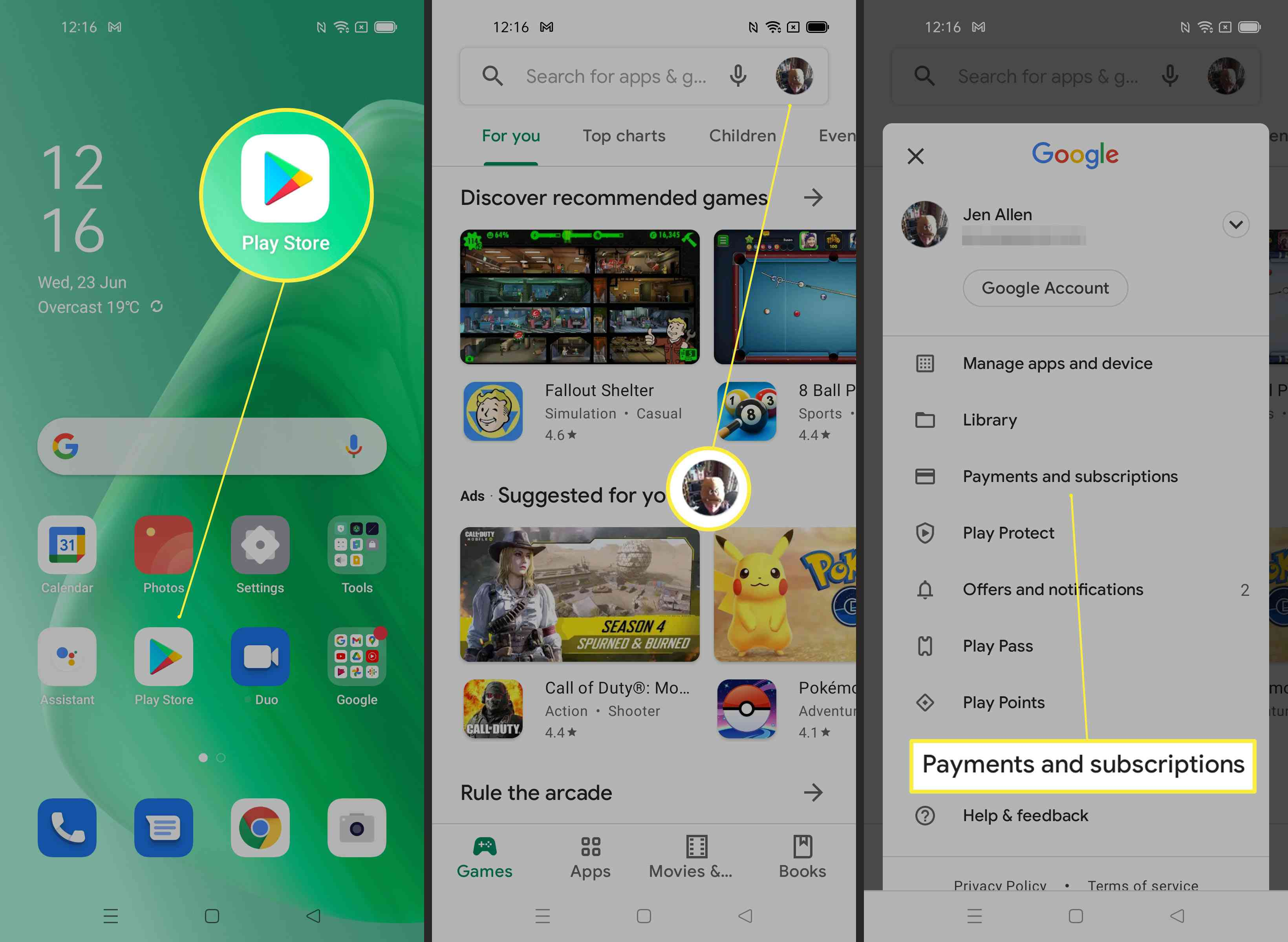 Steps required to find Payments and Subscriptions on Android