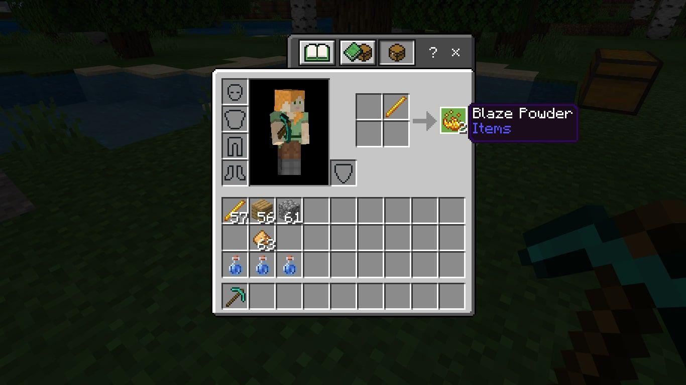 Blaze Powder in the Minecraft crafting grid