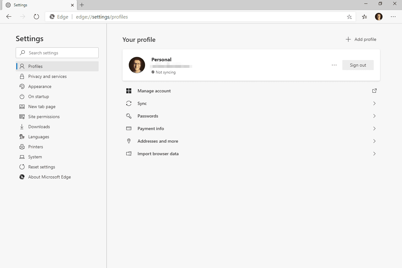 Microsoft Edge settings screen