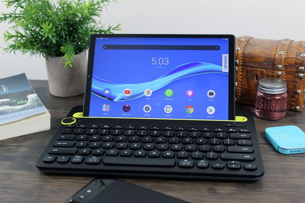 A Bluetooth Logitech keyboard paired with a tablet.