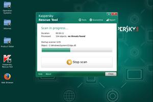 Kaspersky Rescue Disk running a virus scan