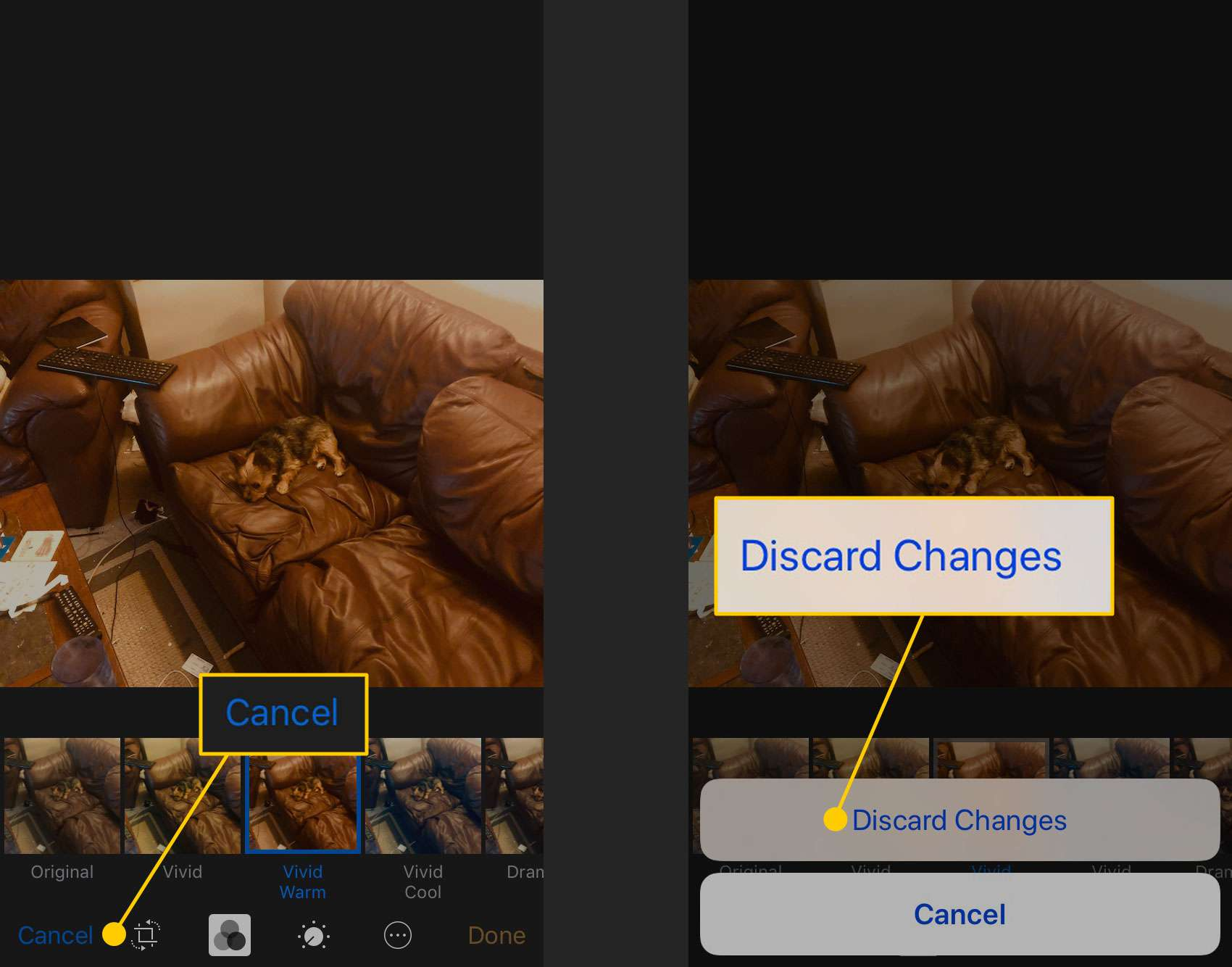 Discarding changes when adding a filter to a photo on an iPhone