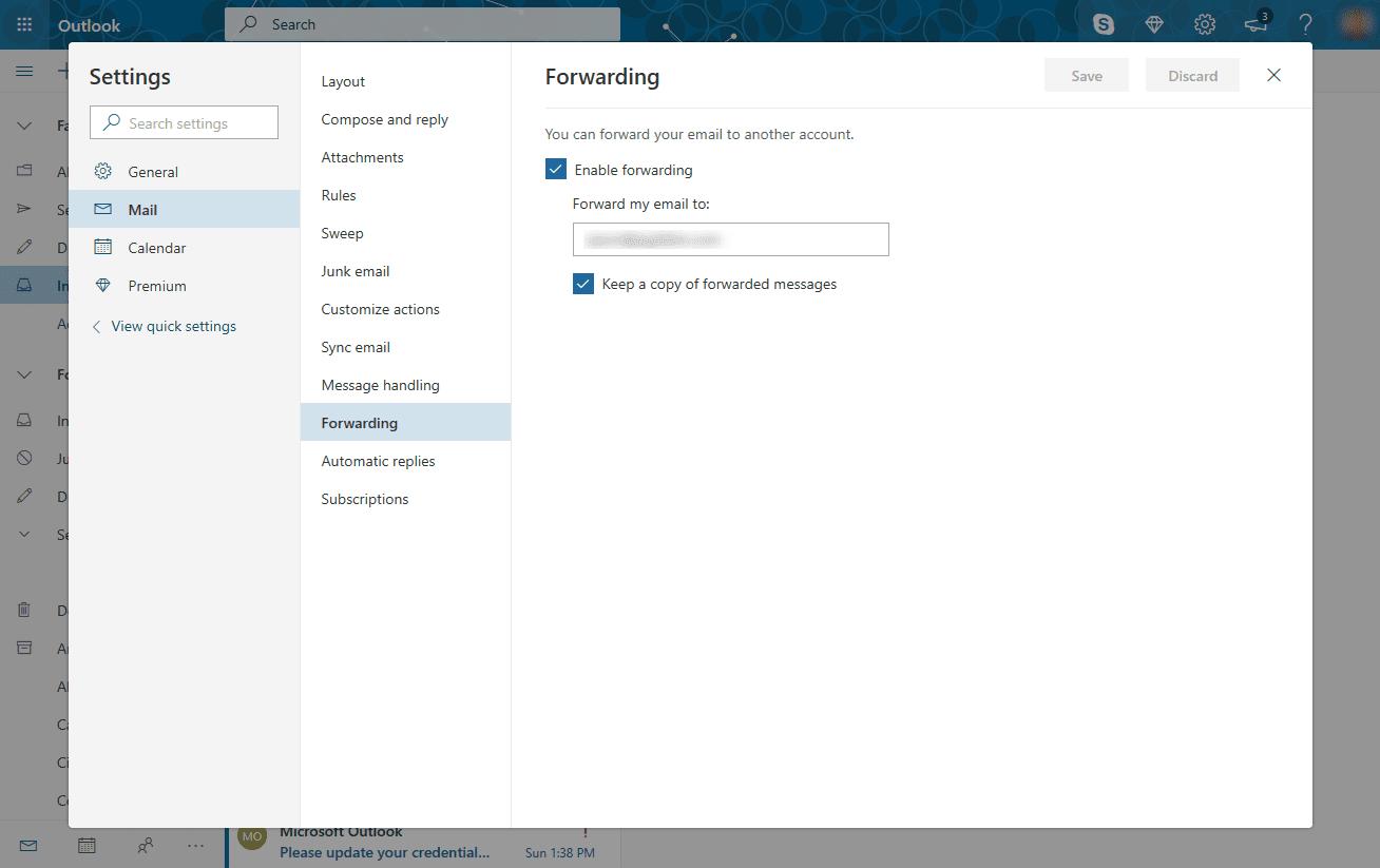 Outlook.com Forwarding window.