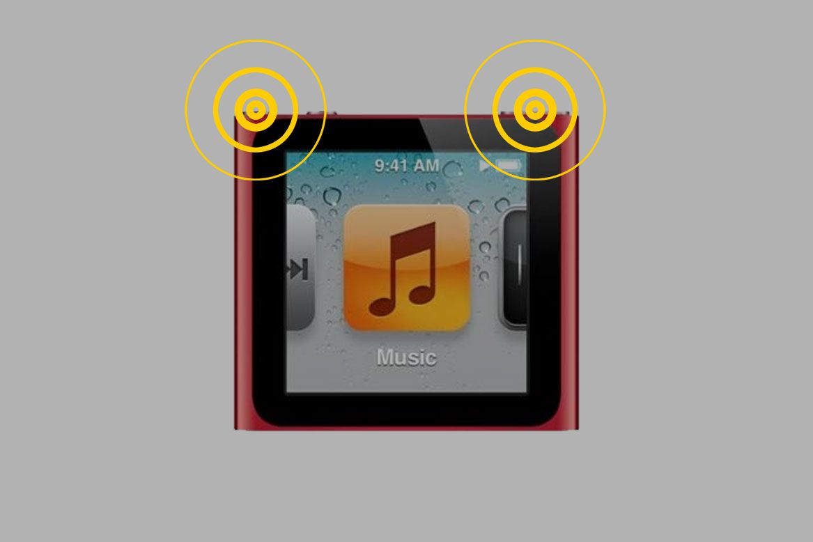 iPad Nano with the Volume Down and Hold buttons highlighted