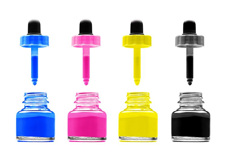 Magenta, cyan, yellow and black ink wells