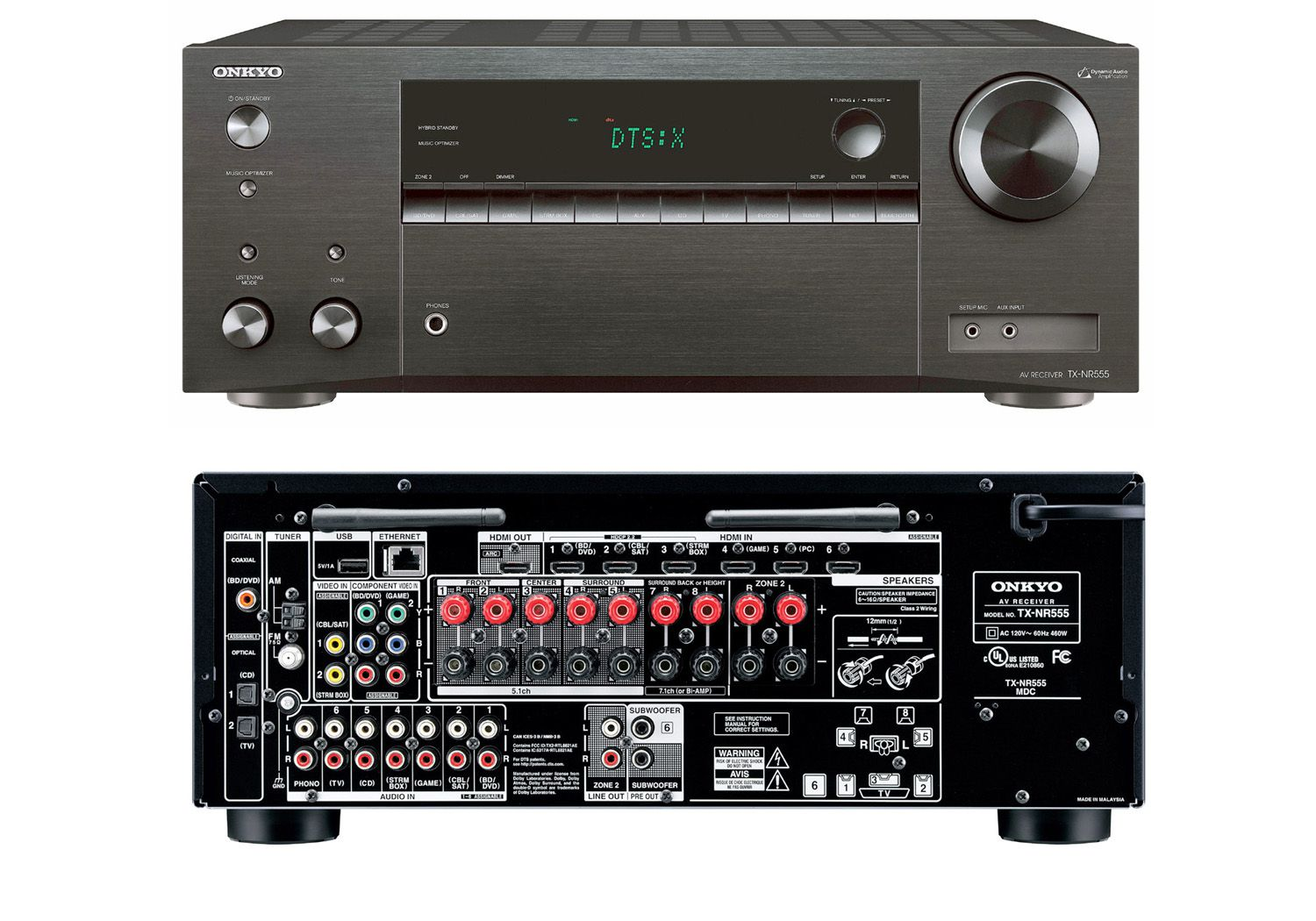 Onkyo Tx Nr555 Dolby Atmos Home Theater Receiver Review 555 Tone Generator 8 Ohm Speaker