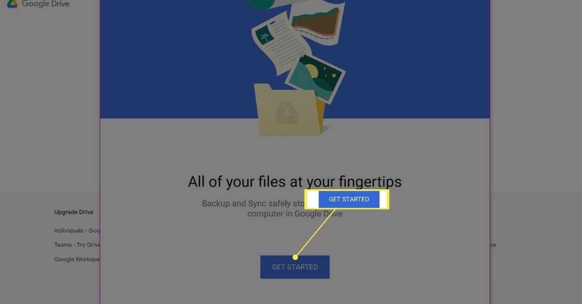 Get Started button on Google Drive Backup and Sync app download page.