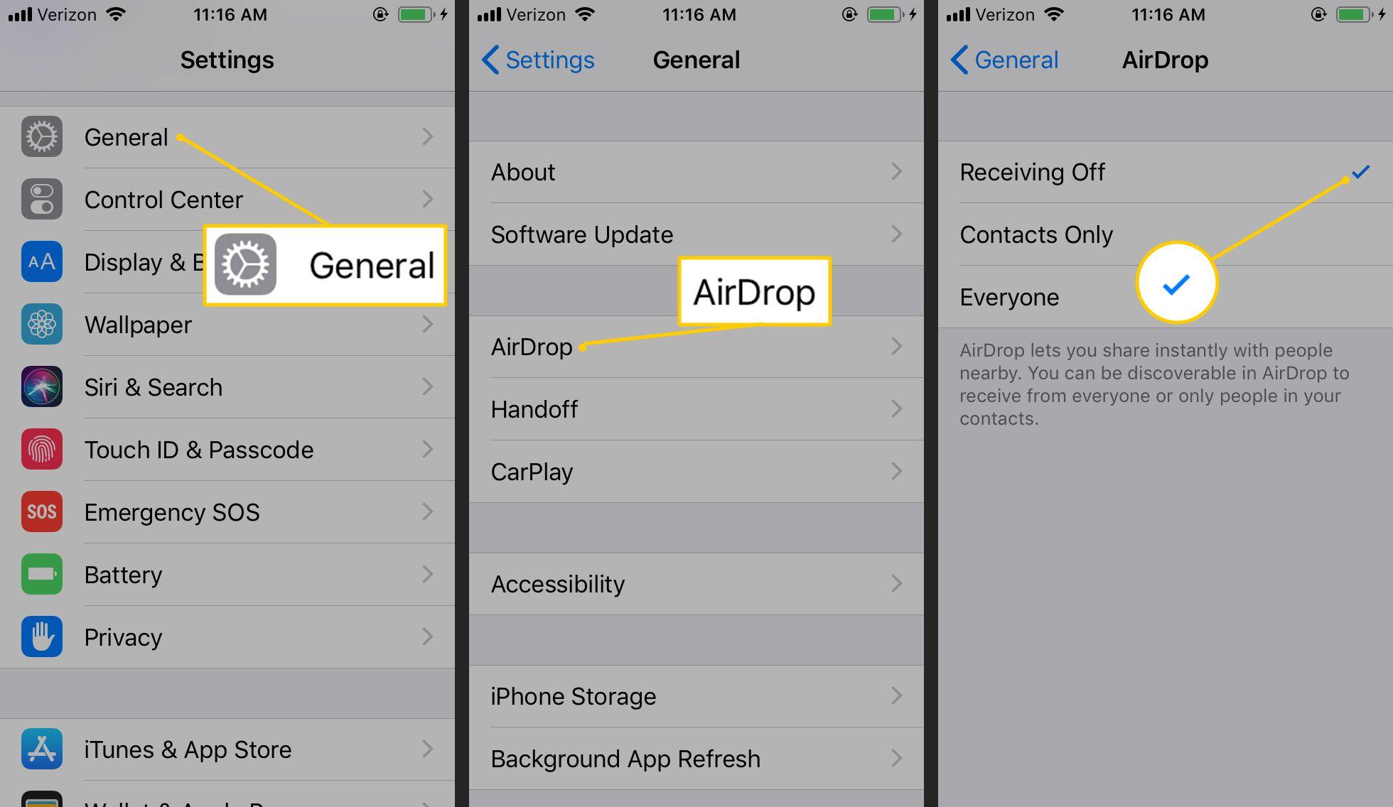 General, AirDrop, Receiving Off