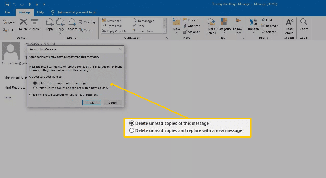 Recall This Message options in Outlook