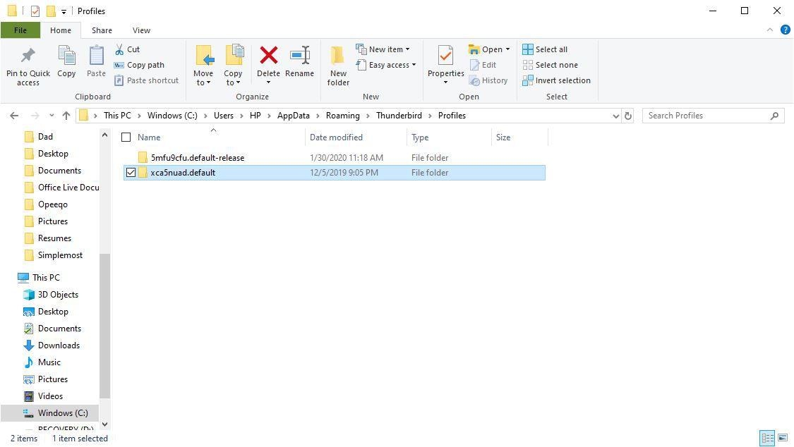 Screenshot of profile folder