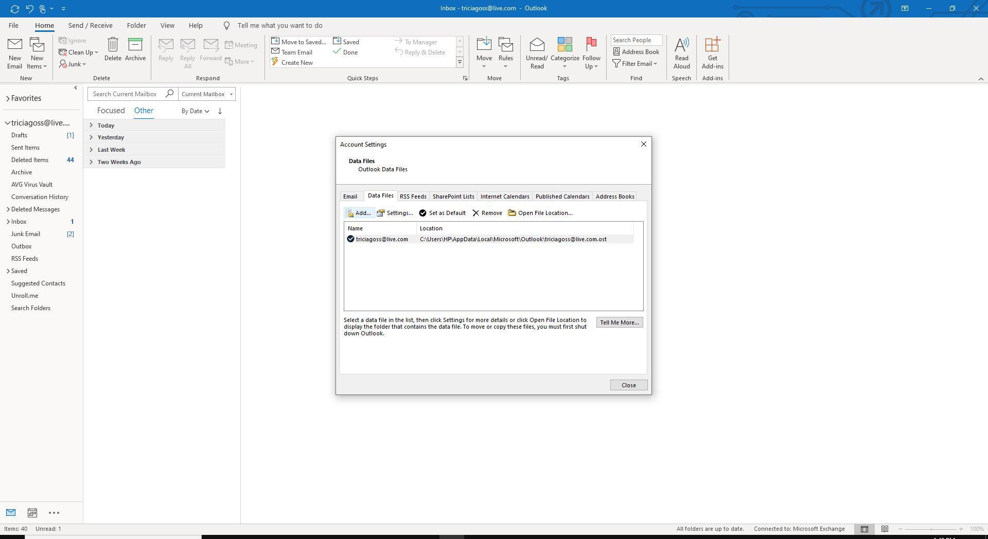 Screenshot of Add on Data Files tab