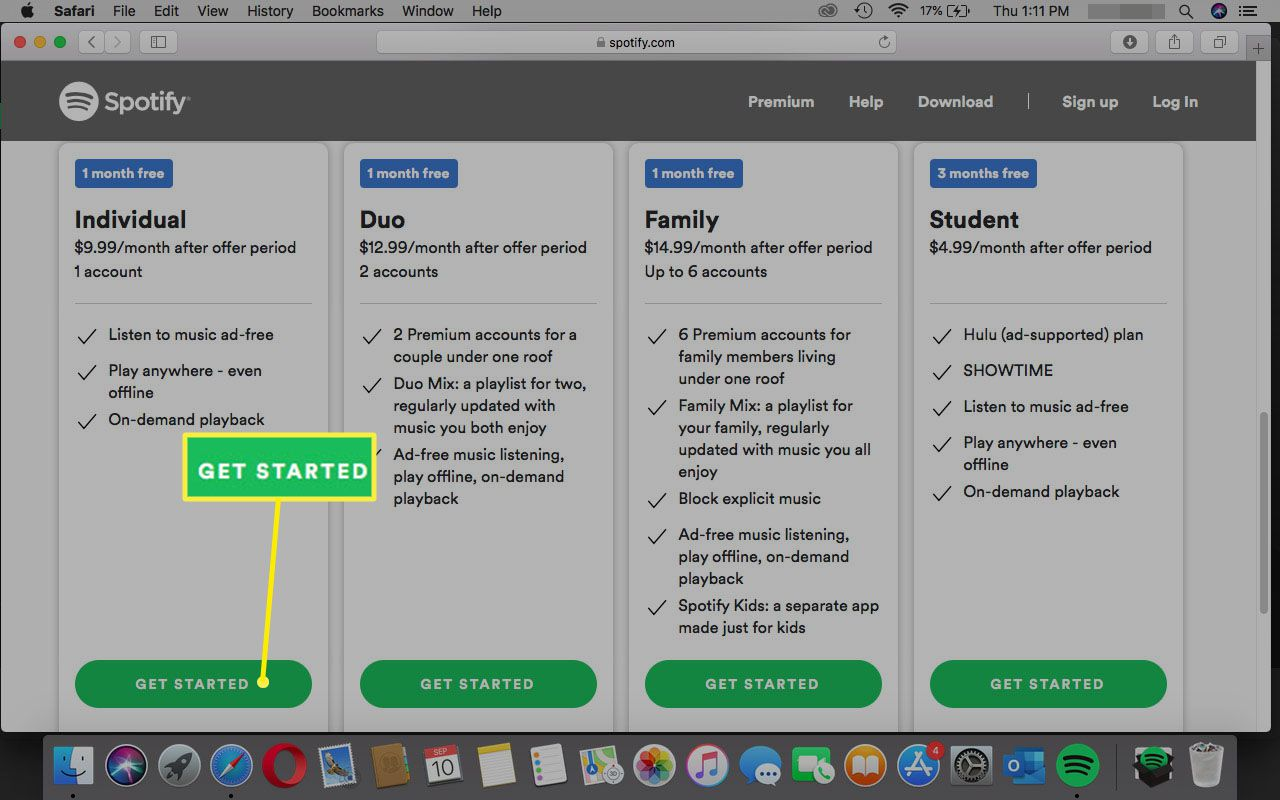 Selecting Get Started on Spotify website in Safari.