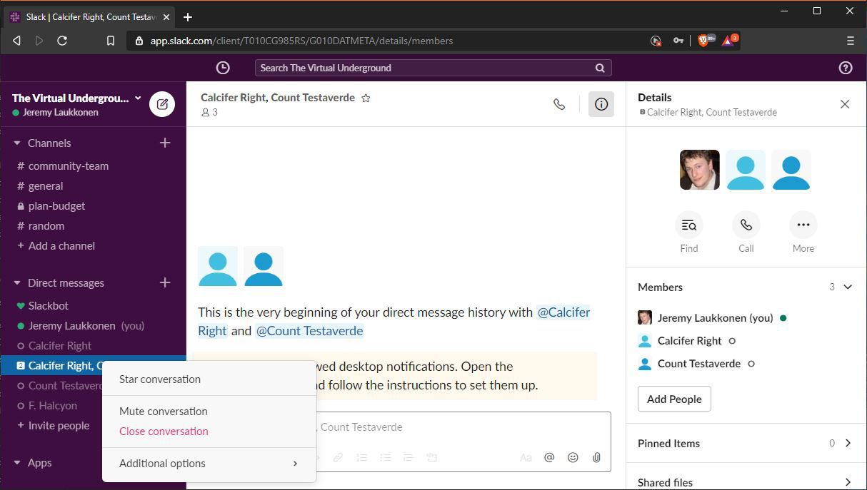 A screenshot showing how to delete a group DM in Slack.