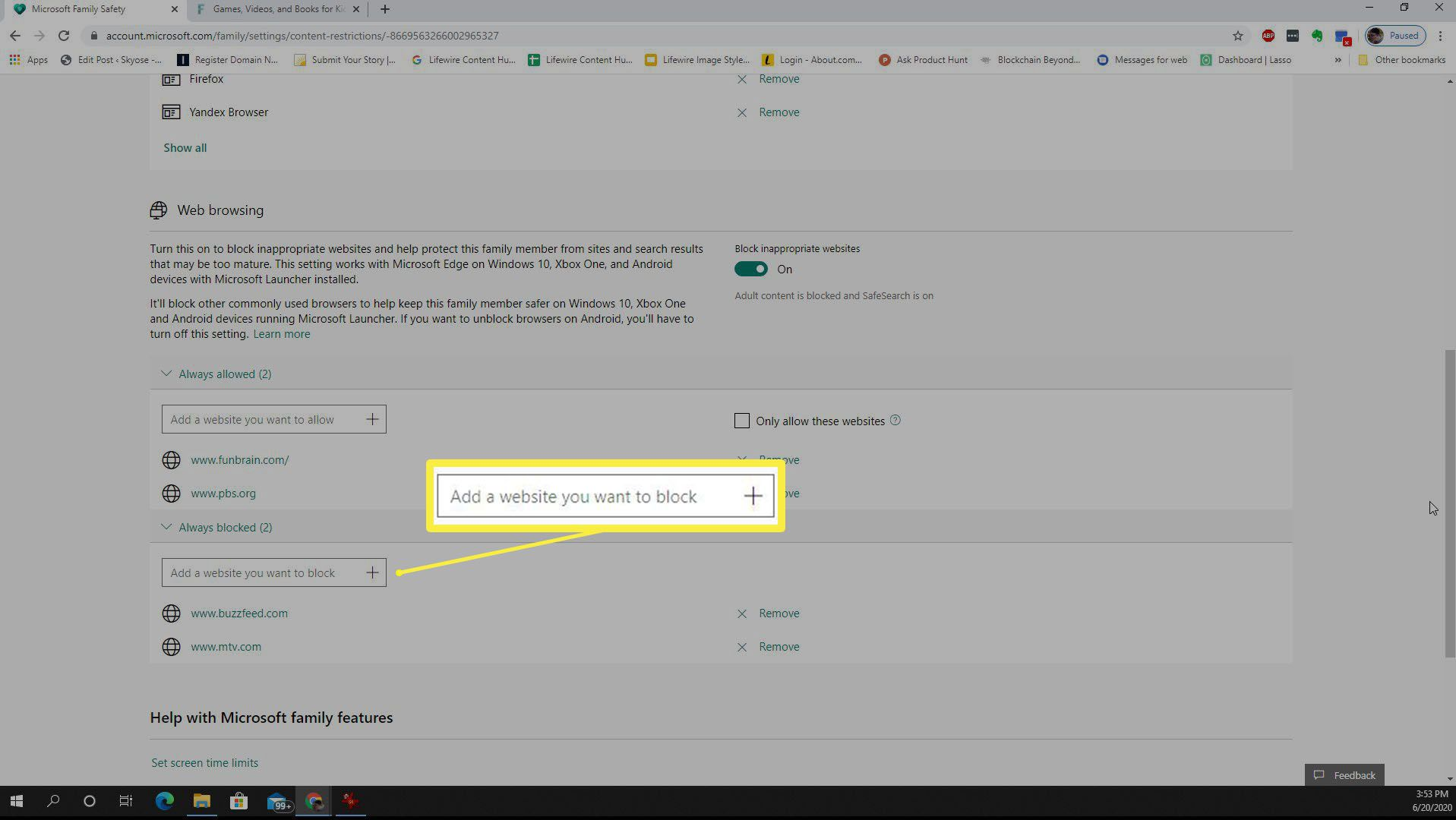 Screenshot of blocking websites in Microsoft Family Safety.