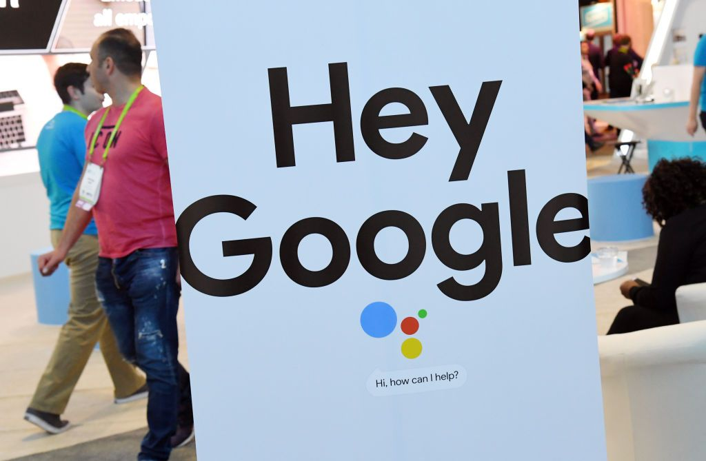 LAS VEGAS, NV - JANUARY 09: A sign for the Google Assistant is displayed during CES 2018 at the Sands Expo and Convention Center on January 9, 2018 in Las Vegas, Nevada. CES, the world's largest annual consumer technology trade show, runs through January 12 and features about 3,900 exhibitors showing off their latest products and services to more than 170,000 attendees.
