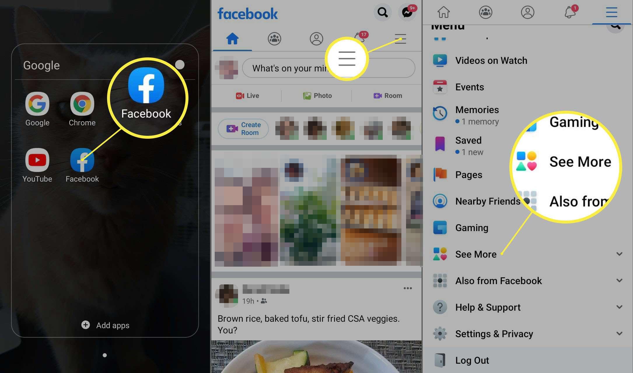 Facebook app for Android main menu.