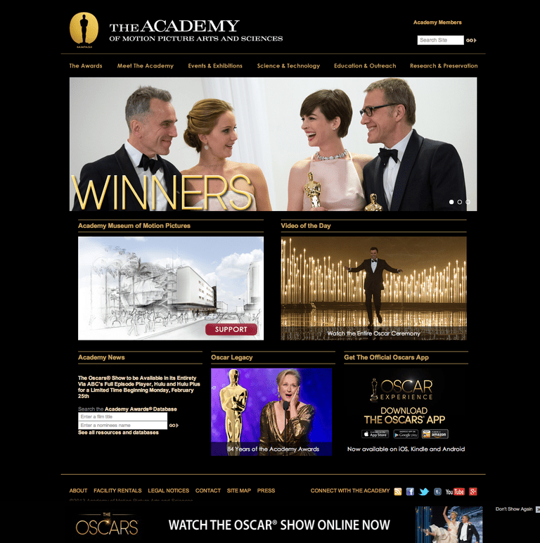 The academy Oscars Website