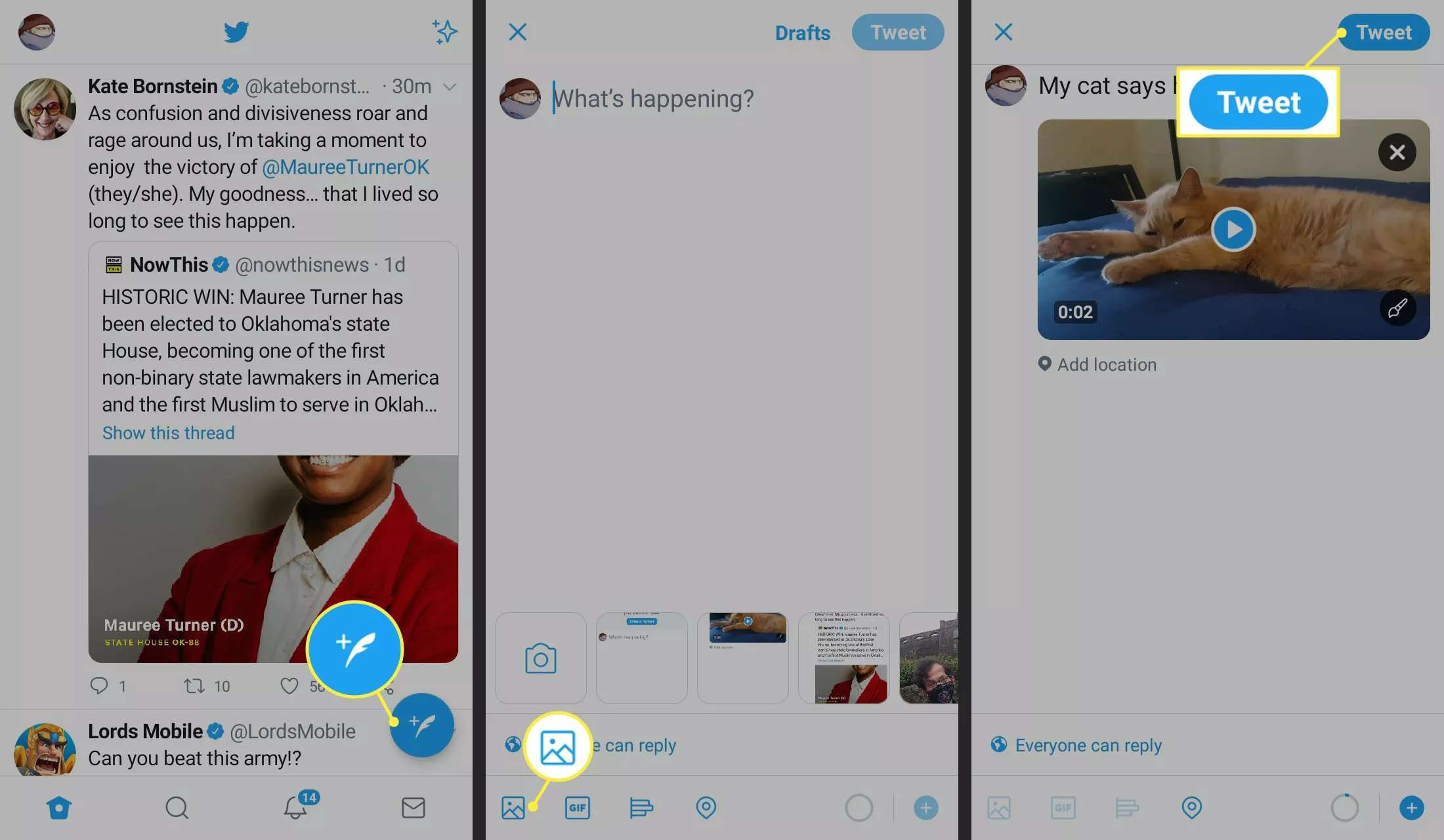 Compose Tweet, Photo, and Tweet icon on the Twitter app