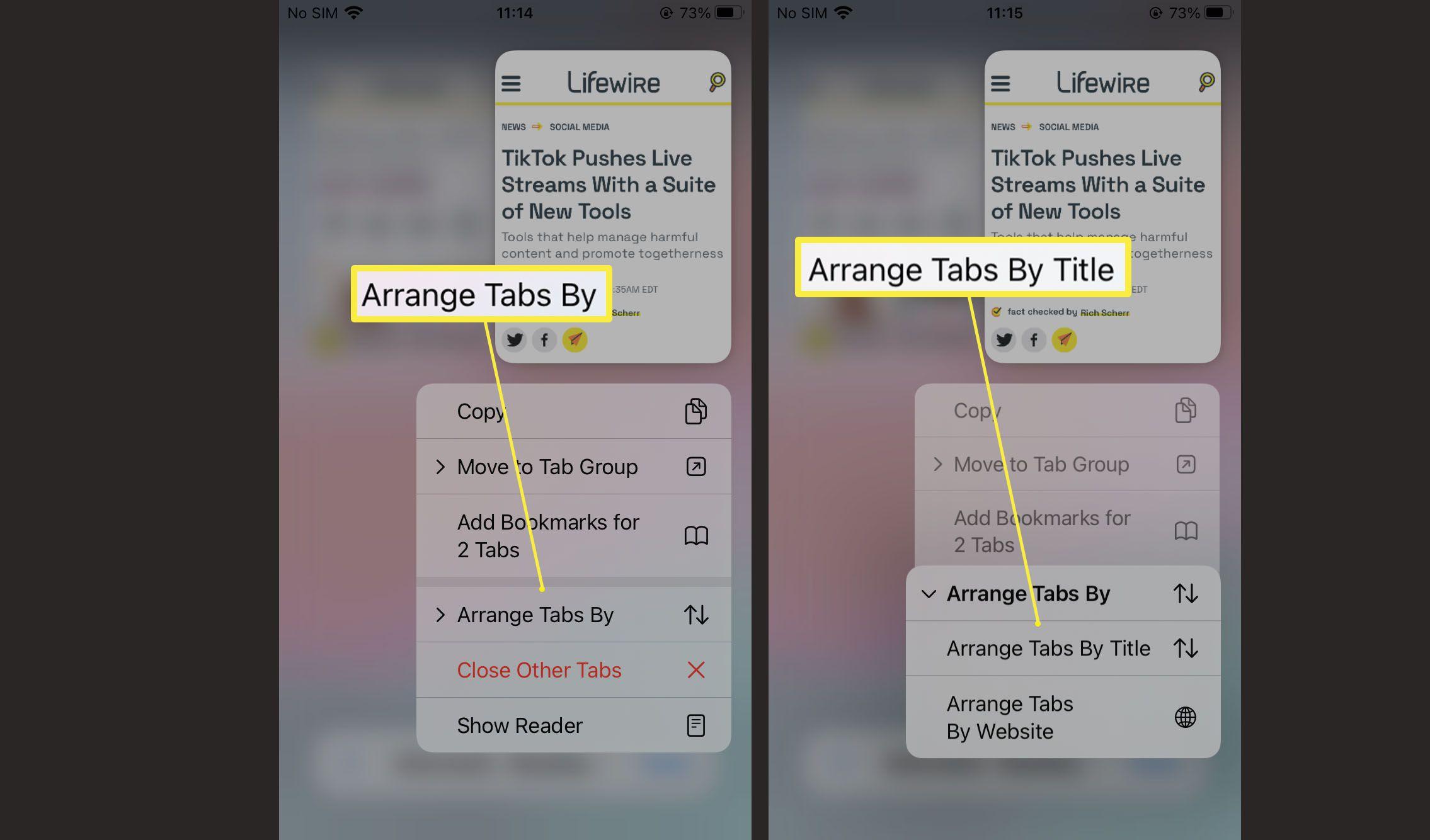 Steps needed to arrange tabs in Safari on iOS 15