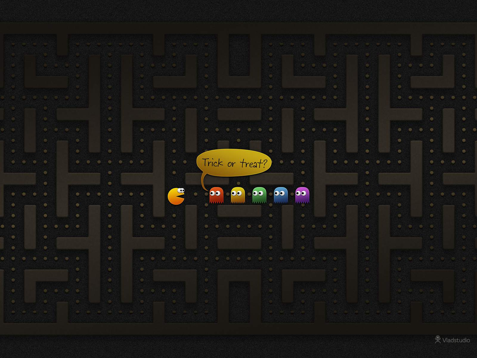 A Halloween Pac-Man wallpaper.