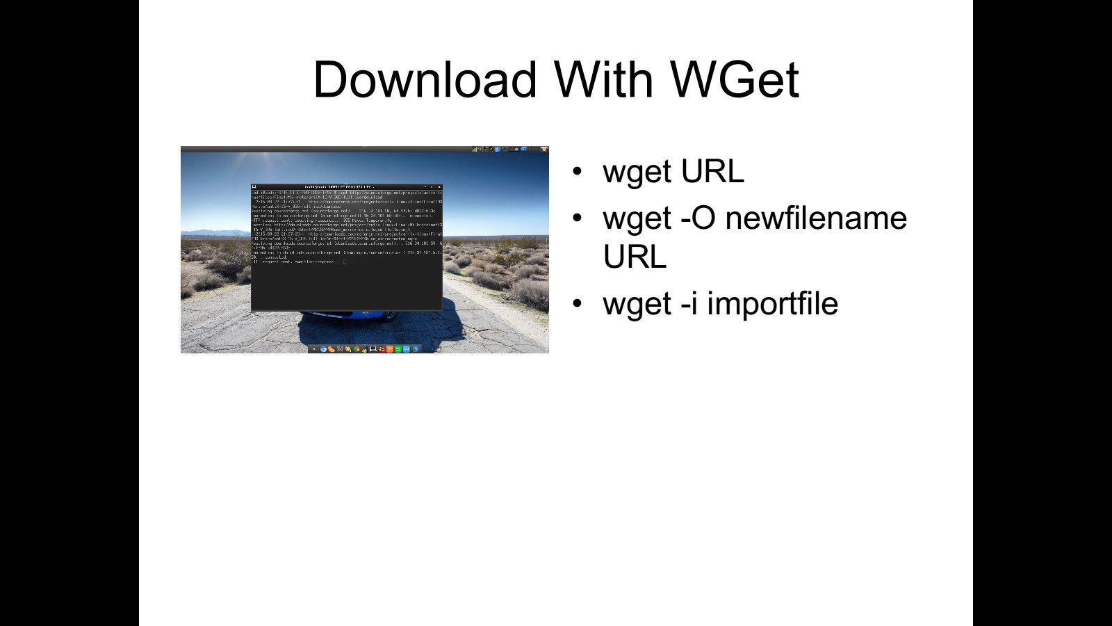Download files from wget