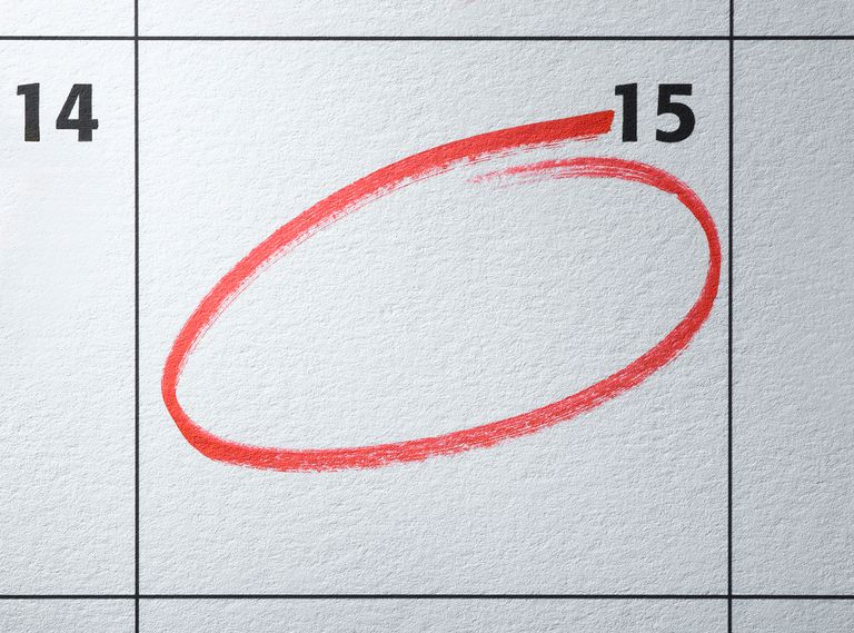 Monthly calendar with day circled in red.