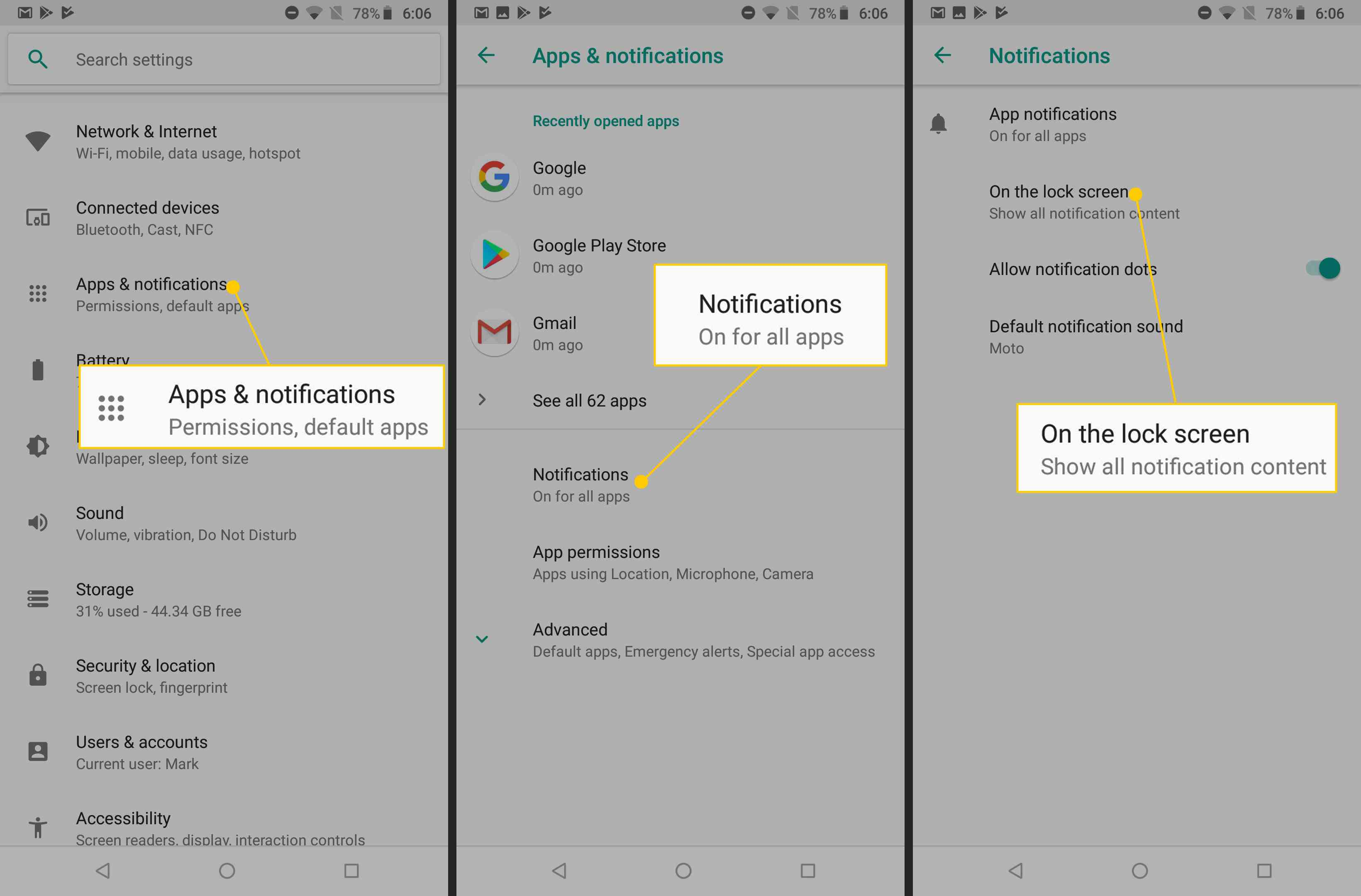 Apps & notifications, Notifications, On the lock screen buttons on Android