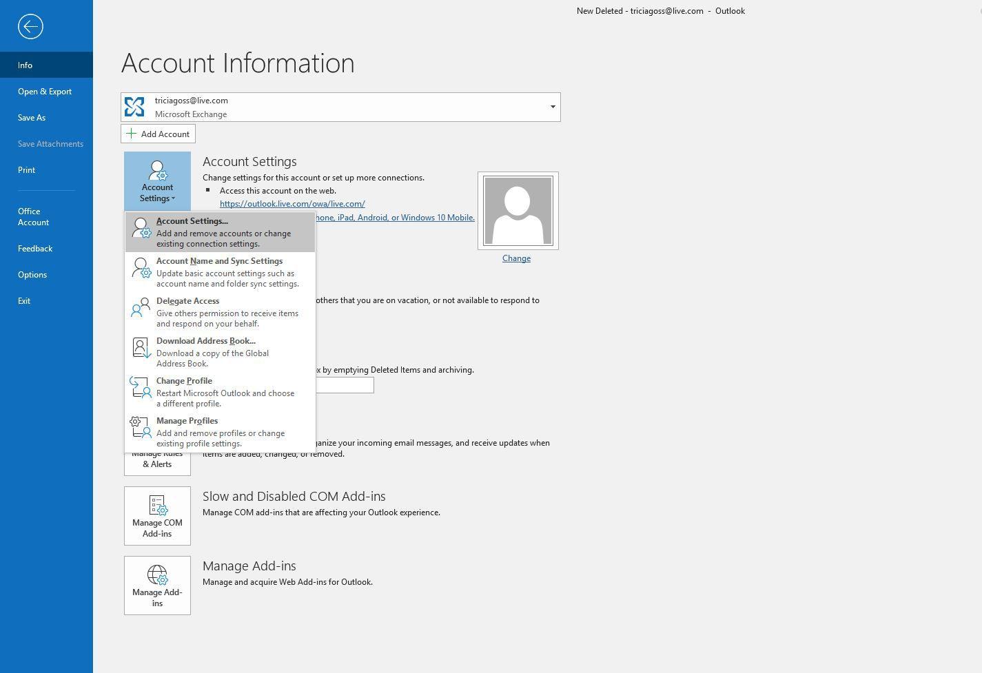 Screenshot of Account Settings
