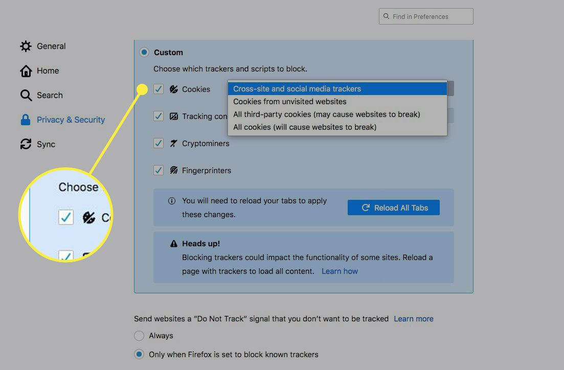 A screenshot of Firefox's Custom Privacy settings with Cookies highlighted